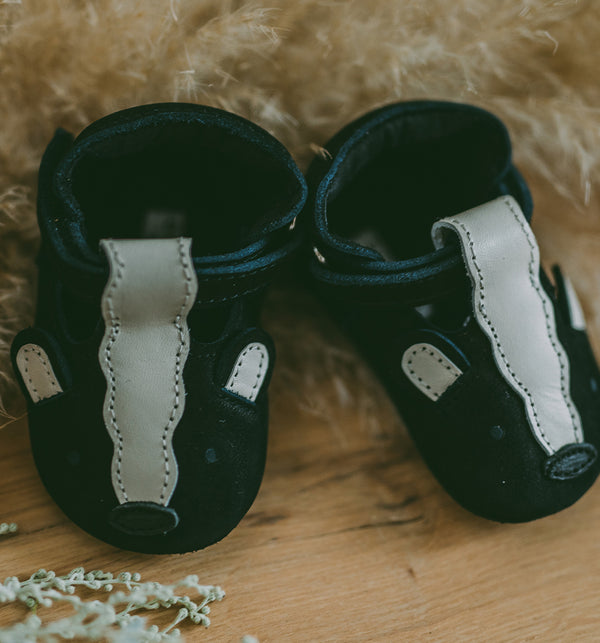 donsje Spark Velcro Leather skunk shoes baby toddler
