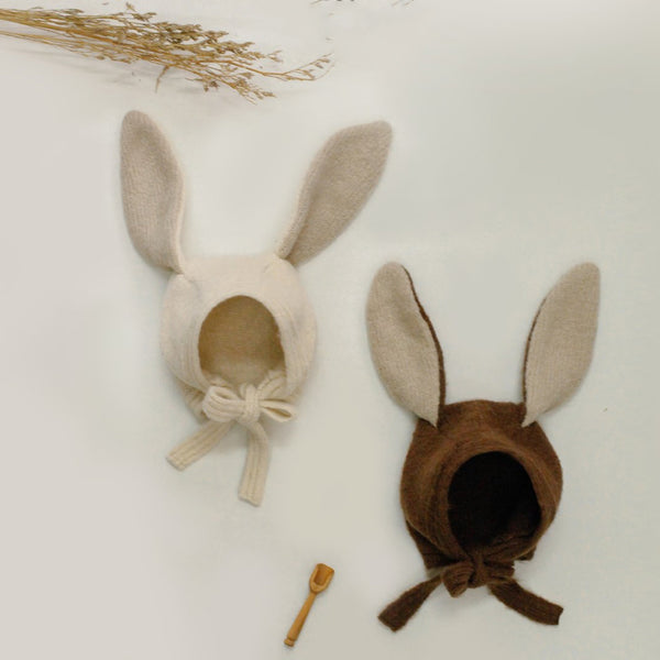 Lapin Knit Bonnet Hat (Cream)