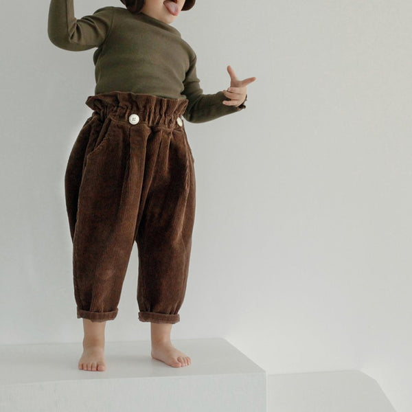 Soren Button Corduroy Trousers (Chocolate)