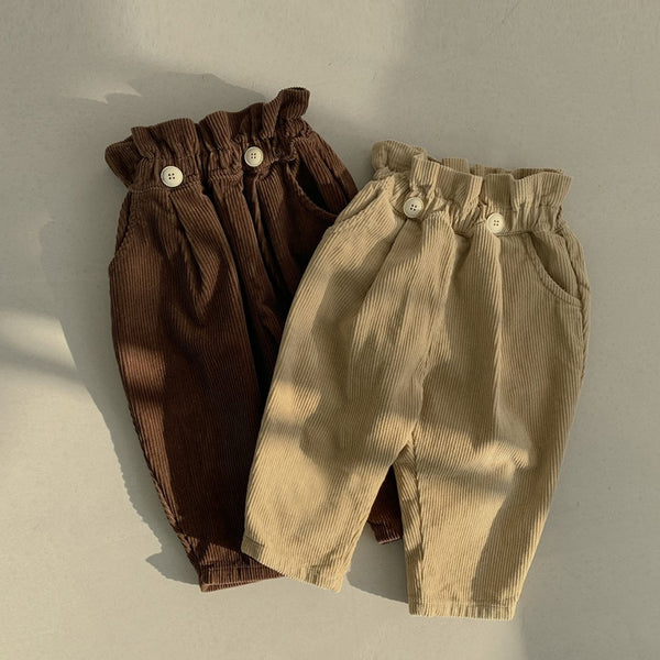 Soren Button Corduroy Trousers (Beige)