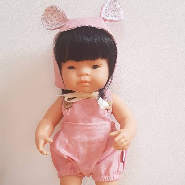 Pink Romper & Bear Hat for Miniland Doll (38cm)