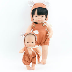 Rust Romper & Bear Hat for Miniland Doll (21cm)