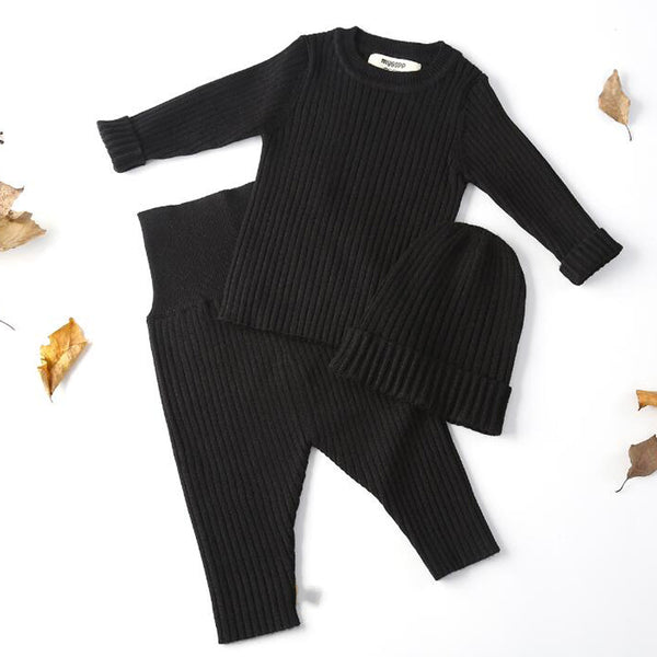 Ribbed Knit Jumper + Leggings + Hat Set (Black)