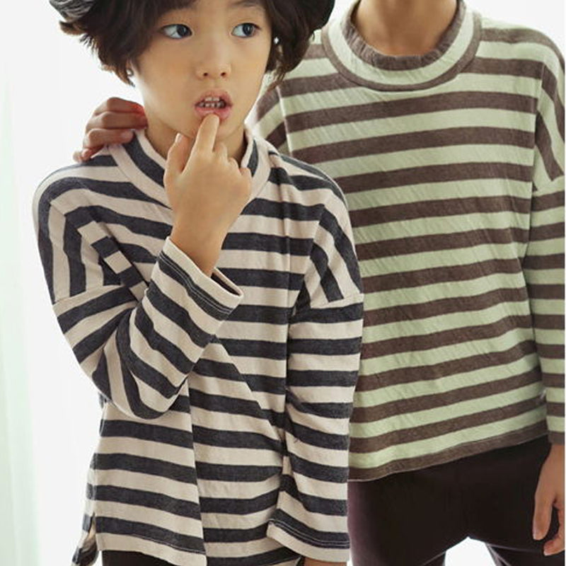 Bien Brushed Warm Stripe T Shirt (Mocha)