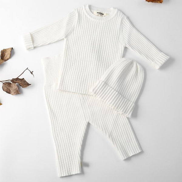 Ribbed Knit Jumper + Leggings + Hat Set (White)