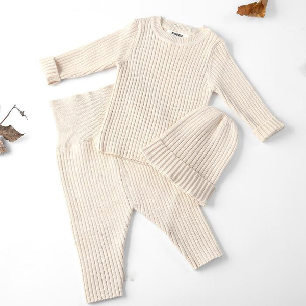 Ribbed Knit Jumper + Leggings + Hat Set (Beige)