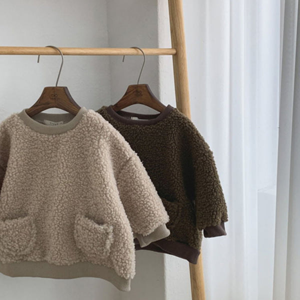 Teddy Pocket Sweatshirt (Beige)