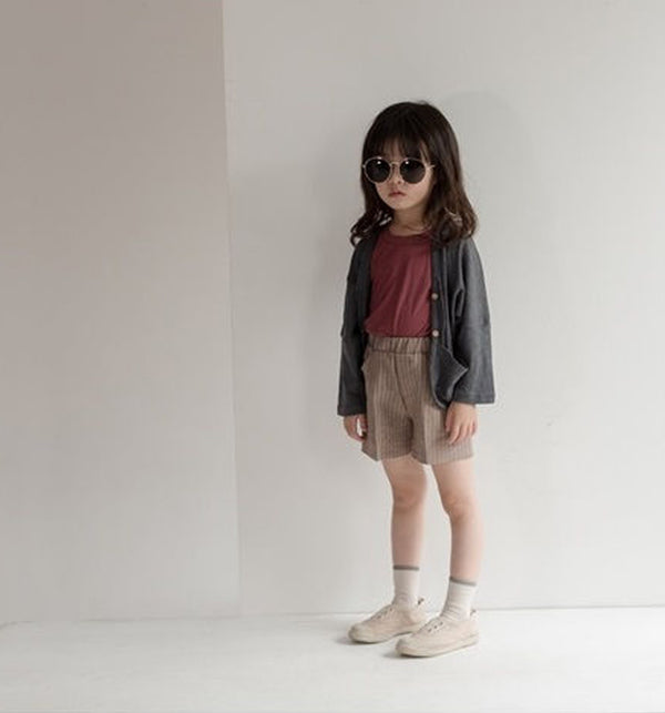 charcoal linen summer girls boys unisex cardigan