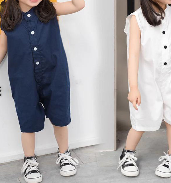 Korea Unisex Button Collar Jumpsuit (White)
