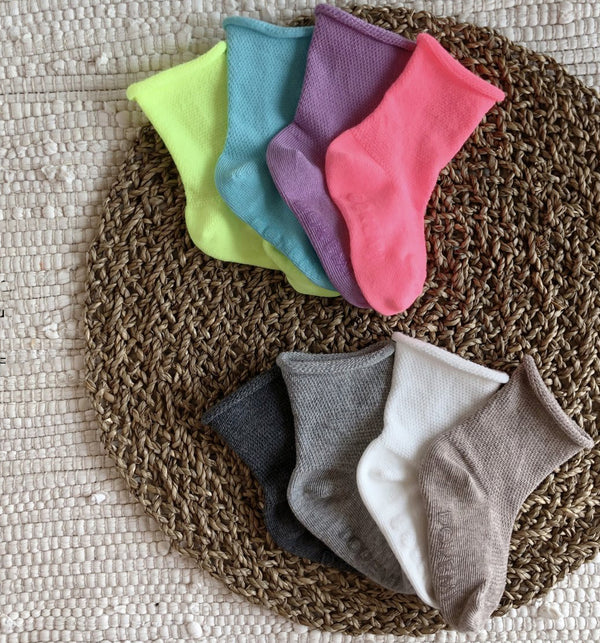 Waffle Rib colour Socks 4 Piece Set (Natural)