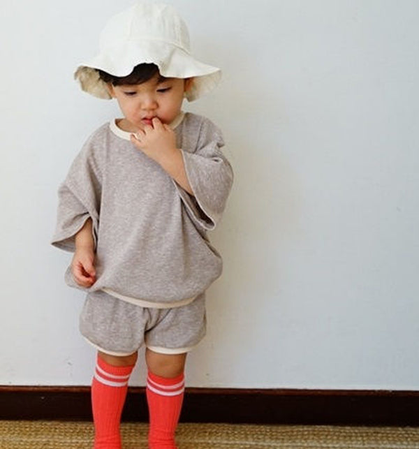 top and shorts set in brown grey black for children and baby oversize modern set