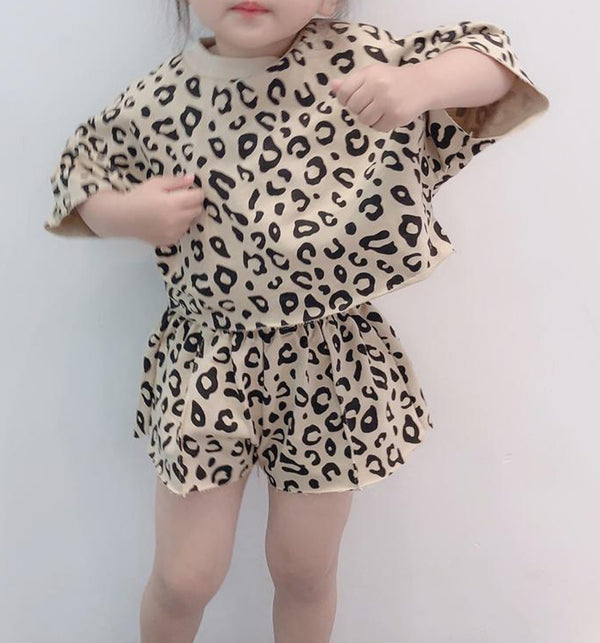 Leopard Summer Shorts and Top Set (Beige)