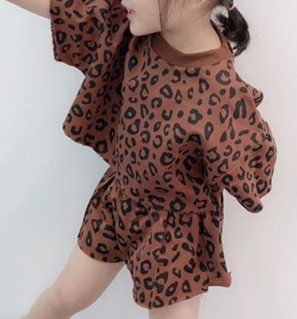 Leopard Print set brown girls unisex kids