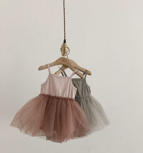 pink baby tutu dress with vest in soft cotton and romper bodysuit