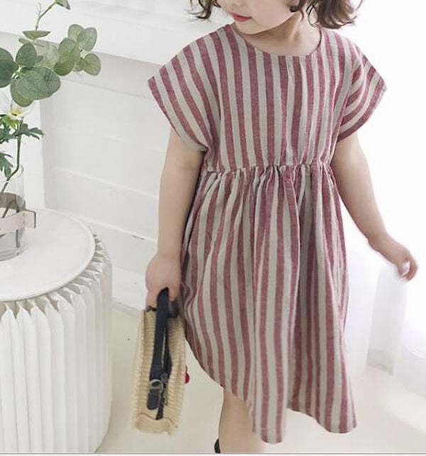 Siesta Stripe Linen Dress (Red)