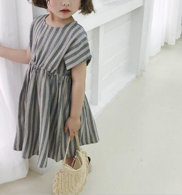 Siesta Stripe Linen Dress (Navy)