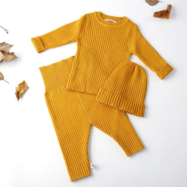 Ribbed Knit Jumper + Leggings + Hat Set (Mustard)