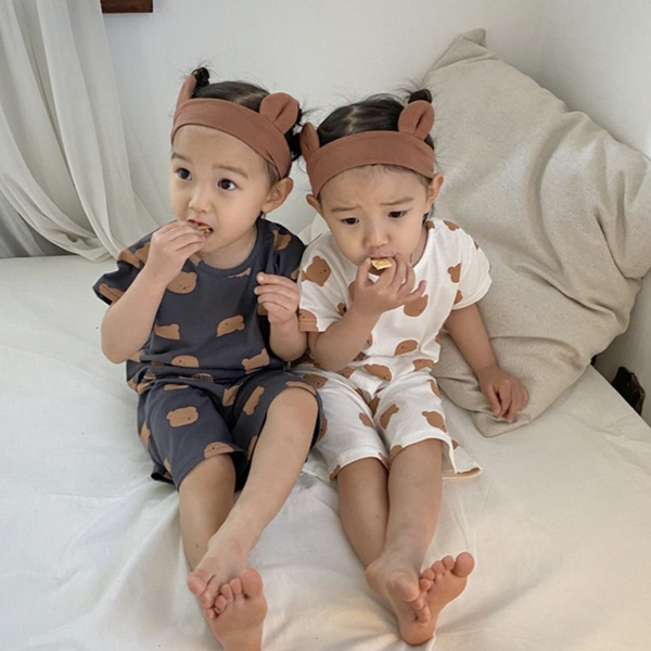 Bear Lounge Set Pyjamas (Charcoal)