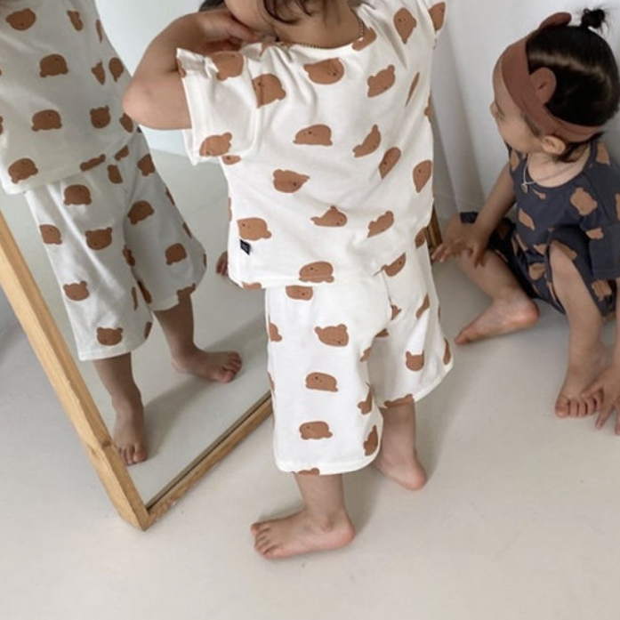 Bear Lounge Set Pyjamas (Ivory)