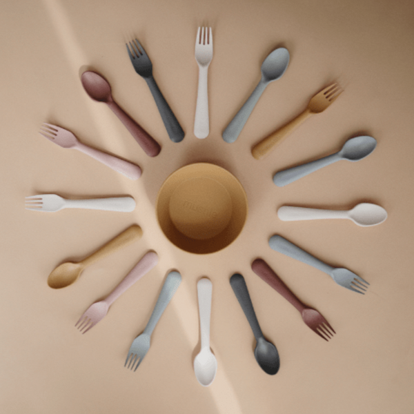 Mushie Fork + Spoon (Woodchuck Pink/Brown)