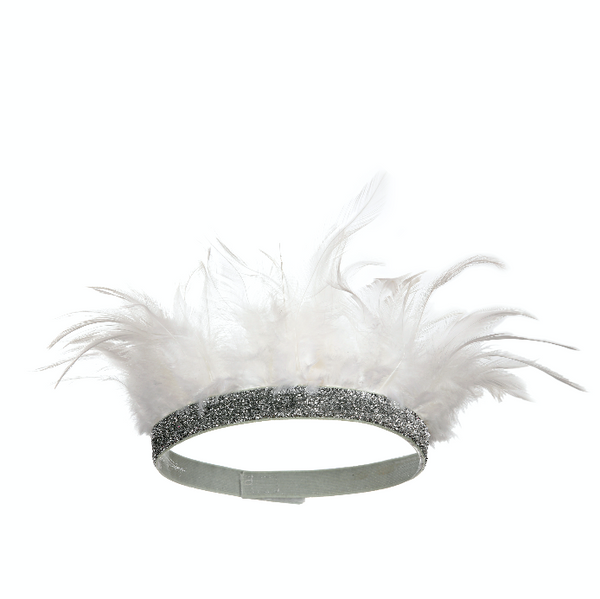 Unisex White Feather Crown
