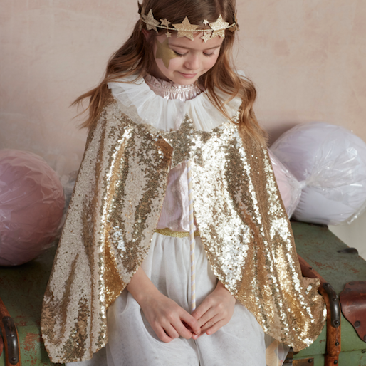 Gold Sparkle Cape + Star Wand Dress Up Set