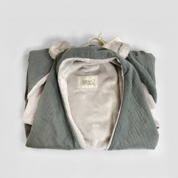 Bear Ear Fleece Organic Cotton Wrap Blanket (Grey)