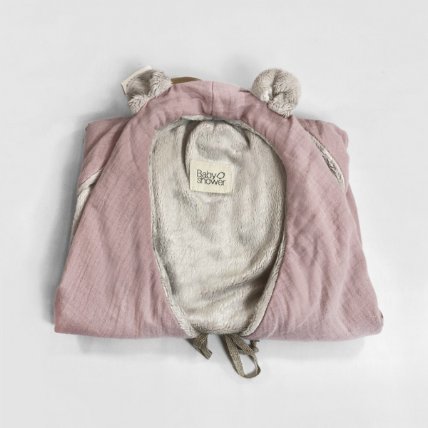 Bear Ear Fleece Organic Cotton Wrap Blanket (Blush)