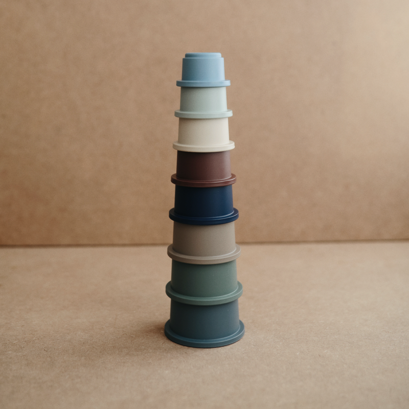 Mushie Tonal Stacking Cups (Forest)