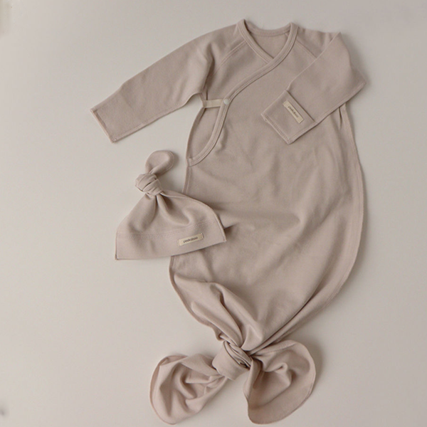 New Bebe Kimono Swaddle Suit with Knot Hat (Stone)
