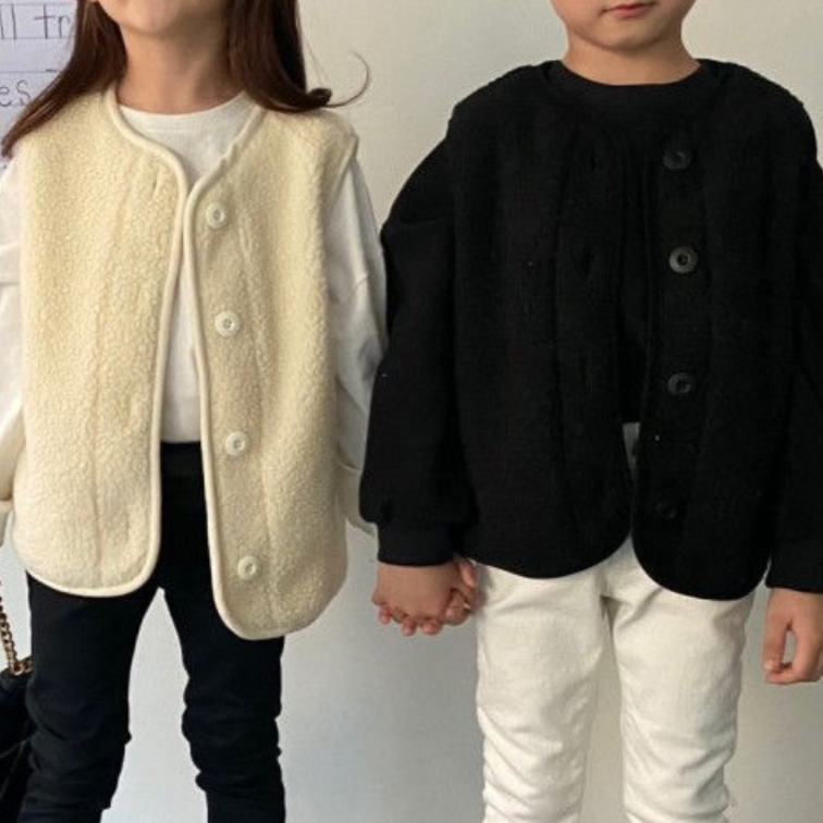 Teddy Quilted Button-Up Gilet + Coat Set MAMA + ME (Cream)