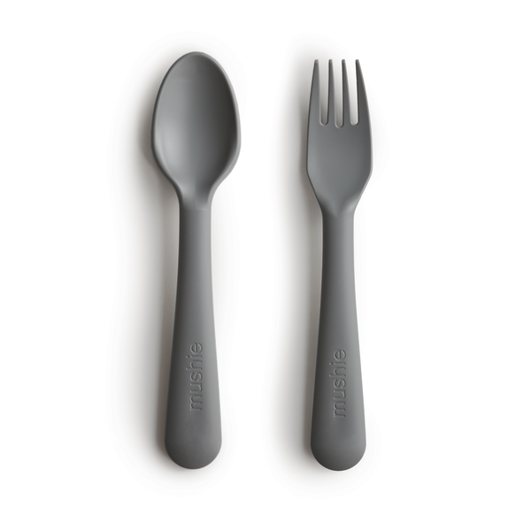 Mushie Fork + Spoon (Smoke Dark Grey)