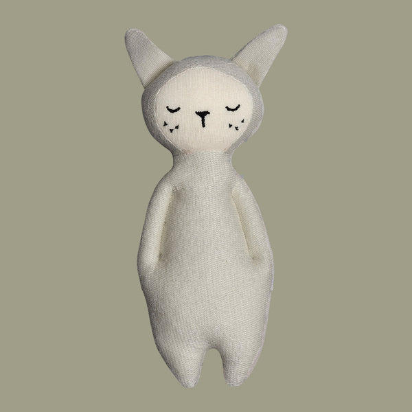 Grey Soft Bunny Rattle Toy