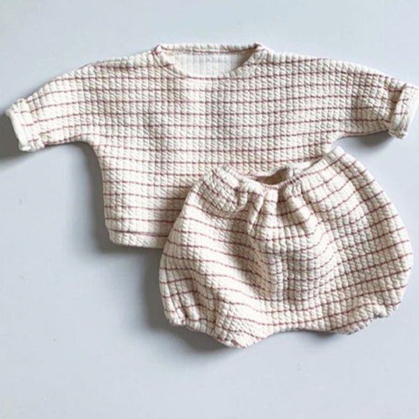 Pepe Stripe Top and Bottom Set (Pink)