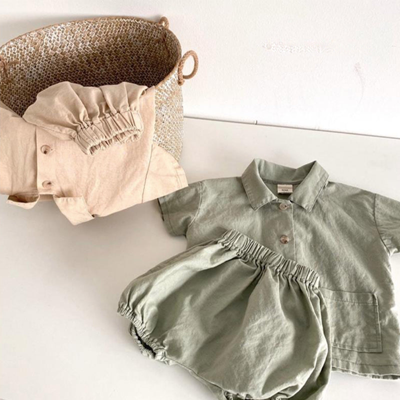 Lotto Button Up Top and Bloomer Set (Beige)