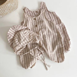 Rocco Stripe Romper with Hat (Beige)