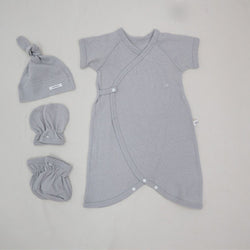 New Bebe 4 Piece Set; Airtex Romper, Booties, Mitts & Hat
