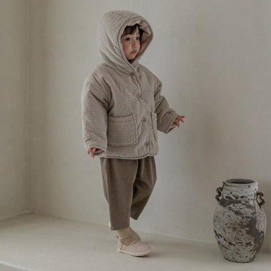 Inu Fine Corduroy Padded Hooded Check Coat (Cream)