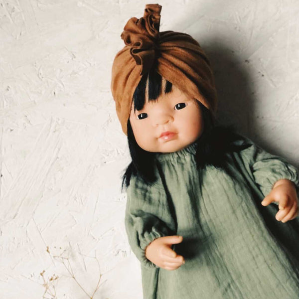 Knotted Turban Hat for Miniland Doll (Caramel)