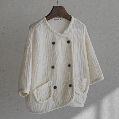 Binky Double Button Cotton Cardigan (Cream)