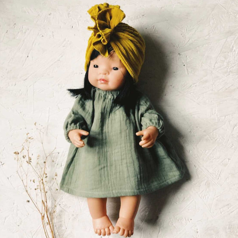 Knotted Turban Hat for Miniland Doll (Mustard Velvet)