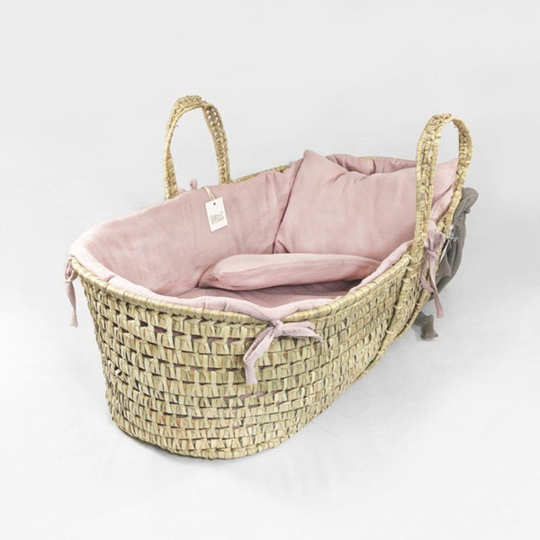 Organic Cotton Moses Basket Liner & Linen 4 Piece Set (Blush)