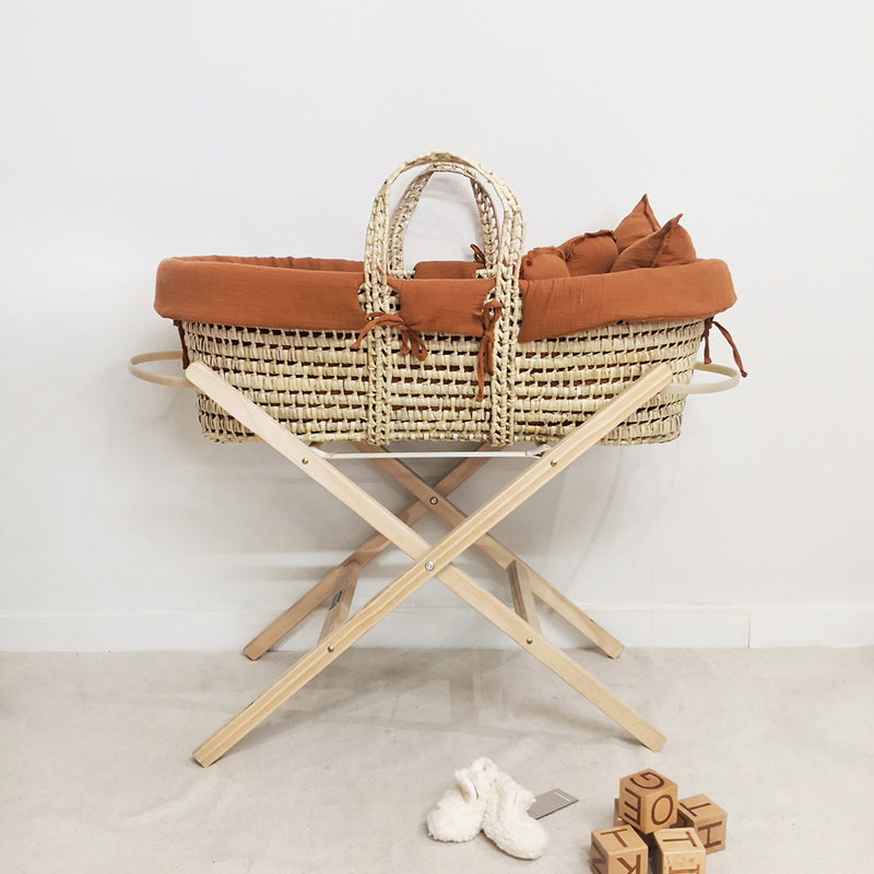 Organic Cotton Moses Basket Liner & Linen 4 Piece Set (Toffee)
