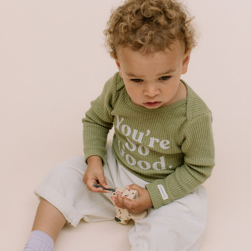 You're So Good Rib Romper Long Sleeve Body Suit (Sage)