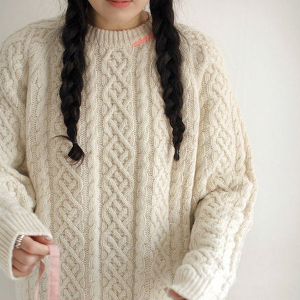 MAMA Stitch Cable Knit Chunky Knit (Cream)
