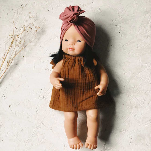 Knotted Turban Hat for Miniland Doll (Blush)