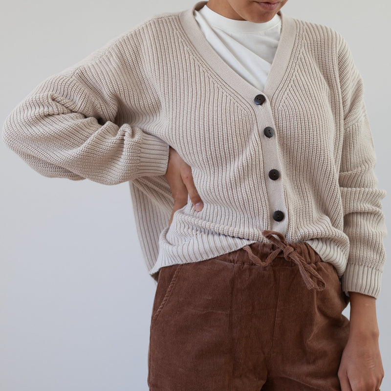 MAMA Oversize Button Cardigan Knit (Beige)
