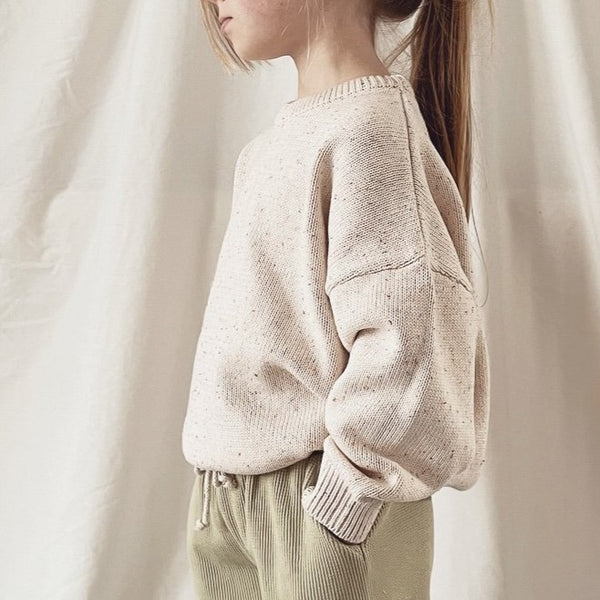 Oat Flecked Fine Knit Boxy Jumper