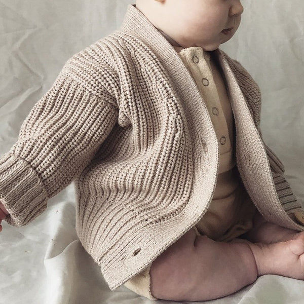 Marl Wheat Chunky Knit Cardigan