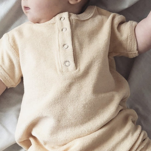 Terry Towelling Baby Romper (Almond)